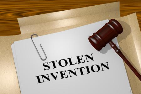 crime solving: 3D illustration of STOLEN INVENTION title on legal document