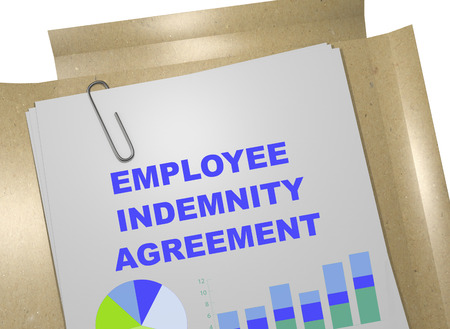 3D illustration of EMPLOYEE INDEMNITY AGREEMENT title on business document Stock Photo