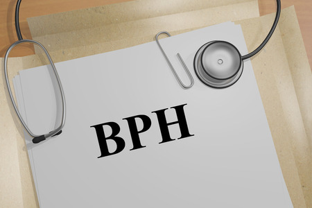 urethral: 3D illustration of BPH title on a medical document Stock Photo