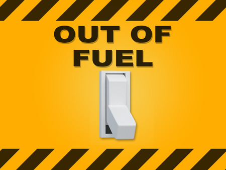 3D illustration of OUT OF FUEL title above an electric switch on yellow wall Stock Photo