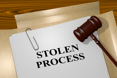 snooping: 3D illustration of STOLEN PROCESS title on legal document Stock Photo