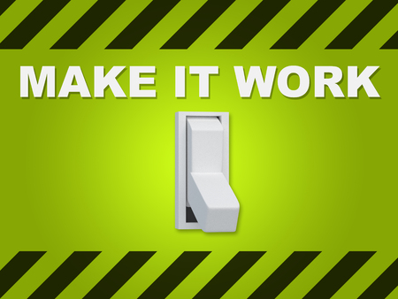 3D illustration of MAKE IT WORK title above an electric switch on green wall