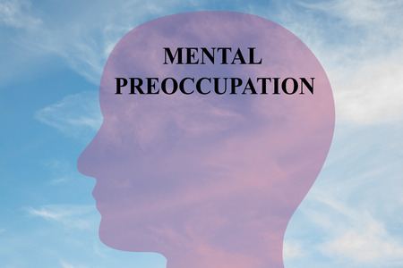 Render illustration of MENTAL PREOCCUPATION title on head silhouette, with cloudy sky as a background. Stock Photo