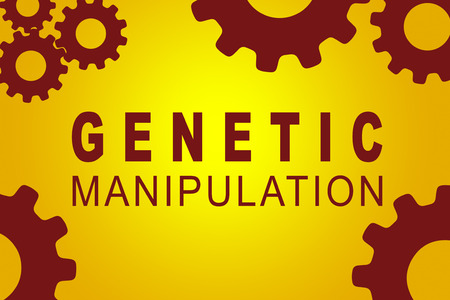 GENETIC MANIPULATION sign concept illustration with red gear wheel figures on yellow background Stock Photo