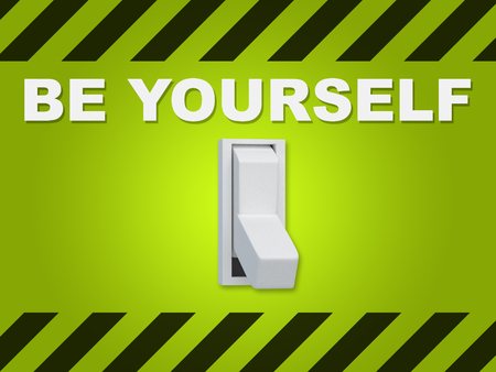 3D illustration of BE YOURSELF title above an electric switch on green wall