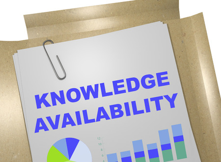 3D illustration of KNOWLEDGE AVAILABILITY title on business document