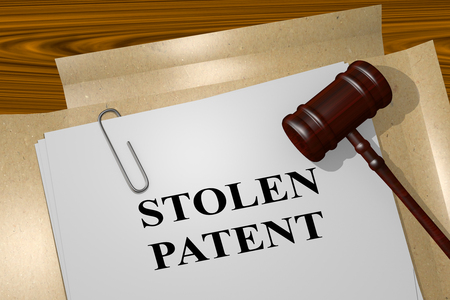 patent key: 3D illustration of STOLEN PATENT title on legal document