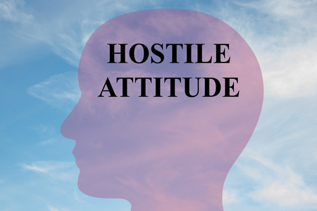 Render illustration of HOSTILE ATTITUDE title on head silhouette, with cloudy sky as a background.