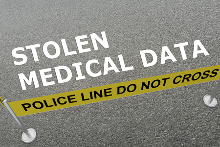 3D illustration of STOLEN MEDICAL DATA title on the ground in a police arena Stock Photo