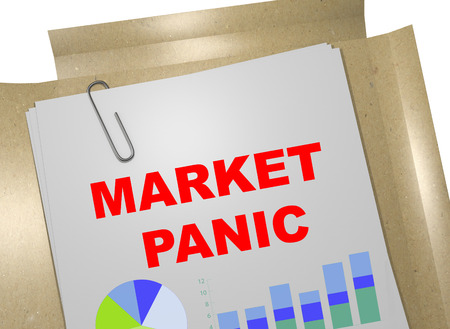 3D illustration of MARKET PANIC title on business document