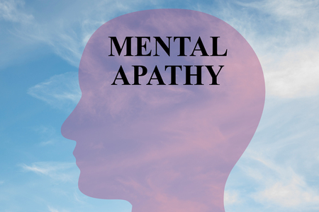 Render illustration of MENTAL APATHY title on head silhouette, with cloudy sky as a background.