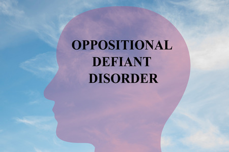wrath: Render illustration of OPPOSITIONAL DEFIANT DISORDER title on head silhouette, with cloudy sky as a background.
