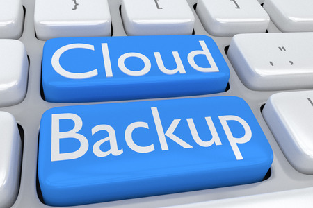 storage device: 3D illustration of computer keyboard with the script Cloud Backup on two adjacent pale blue buttons Stock Photo