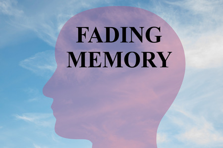 Render illustration of FADING MEMORY title on head silhouette, with cloudy sky as a background.