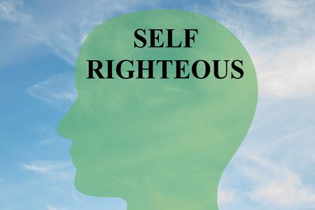 Render illustration of SELF-RIGHTEOUS script on head silhouette, with cloudy sky as a background.