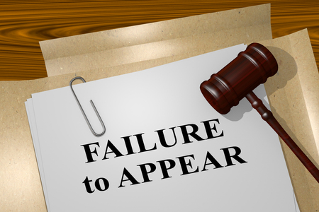 3D illustration of FAILURE to APPEAR title on legal document