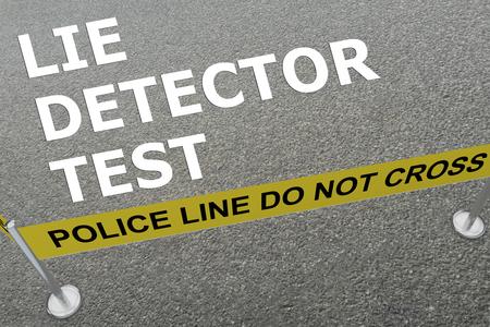 """경찰 경기장에서 바닥에 """"거짓 검열 테스트""""제목의 3D 일러스트 레이션"""