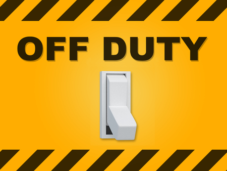 3D illustration of OFF DUTY title above an electric switch on yellow wall