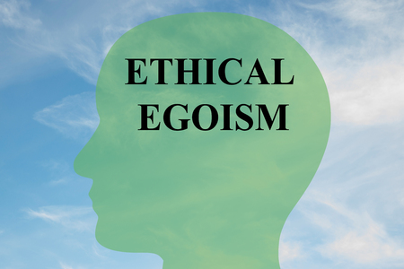 bioethics: Render illustration of ETHICAL EGOISM script on head silhouette, with cloudy sky as a background. Stock Photo