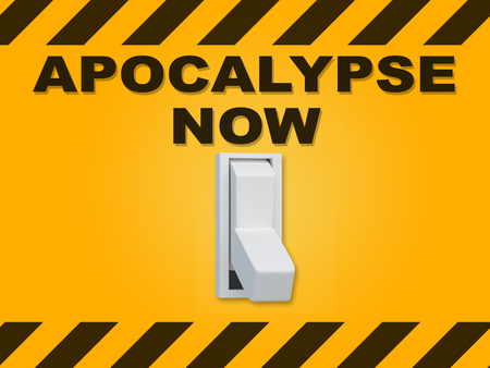 3D illustration of APOCALYPSE NOW title above an electric switch on yellow wall Stock Photo