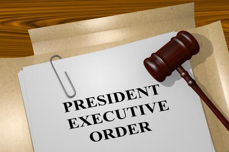 """3D-afbeelding van de titel """"PRESIDENT EXECUTIVE ORDER"""" op wettelijk document"""