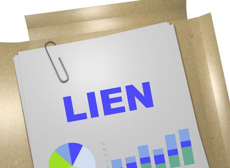 """3D illustratie van de titel """"LIEN"""" op bedrijfsdocument"""