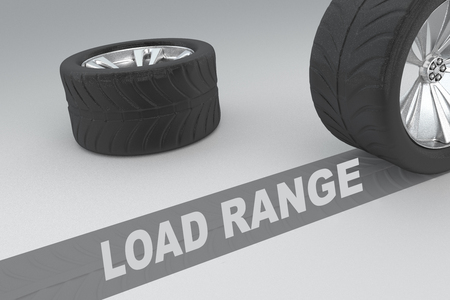 driving range: Load Range safety conceptual image of 3D rendered wheels with tires and sign over dark trace showing braking distances over grey background Stock Photo
