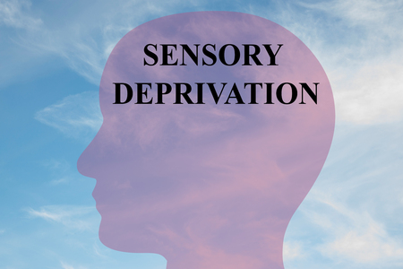 floatation: Render illustration of SENSORY DEPRIVATION title on head silhouette, with cloudy sky as a background.