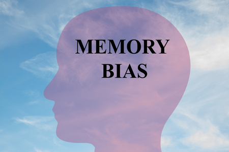 Render illustration of MEMORY BIAS title on head silhouette, with cloudy sky as a background.