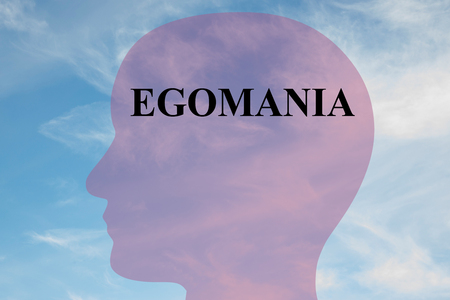 Render illustration of EGOMANIA title on head silhouette, with cloudy sky as a background.
