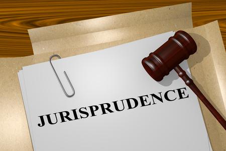 juror: 3D illustration of JURISPRUDENCE title on legal document