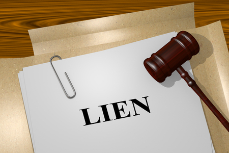 3D illustration of LIEN title on legal document