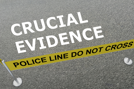 documenting: 3D illustration of CRUCIAL EVIDENCE title on the ground in a police arena