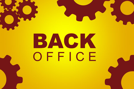 Back office sign concept illustration with red gear wheel figures on yellow background
