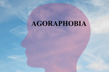 Render illustration of AGORAPHOBIA title on head silhouette, with cloudy sky as a background. Stock Photo