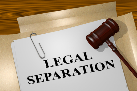 3D illustration of LEGAL SEPARATION title on legal document Stock Photo
