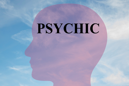 Render illustration of PSYCHIC title on head silhouette, with cloudy sky as a background.