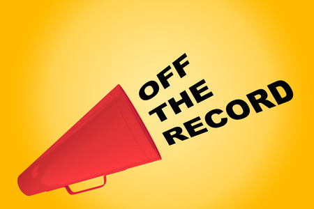 3D illustration of OFF THE RECORD title flowing from a loudspeaker