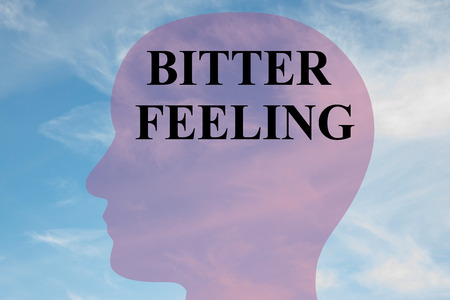 Render illustration of BITTER FEELING title on head silhouette, with cloudy sky as a background.