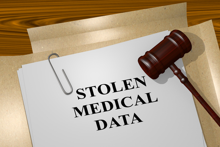3D illustration of STOLEN MEDICAL DATA title on legal document Stock Photo
