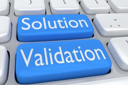 2 つの隣接する淡い青色のボタン上のスクリプト「ソリューション検証」にコンピューターのキーボードの 3 d イラストレーション