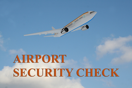 crime prevention: Render illustration of AIRPORT SECURITY CHECK title on cloudy sky as a background, under an airplane which is taking off. Stock Photo