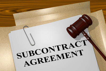 3D illustration of SUBCONTRACT AGREEMENT title on legal document Stock Photo