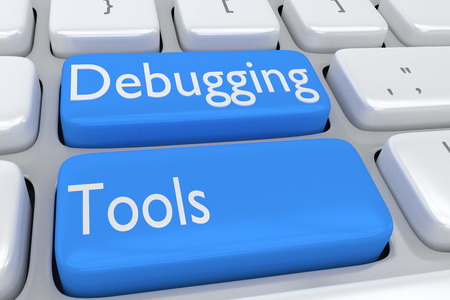 debug: 3D illustration of computer keyboard with the script Debugging Tools on two adjacent pale blue buttons Stock Photo