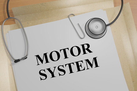 autonomic: 3D illustration of MOTOR  SYSTEM title on a medical document Stock Photo