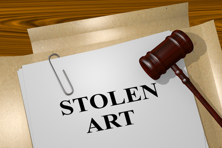 looting: 3D illustration of STOLEN ART title on legal document