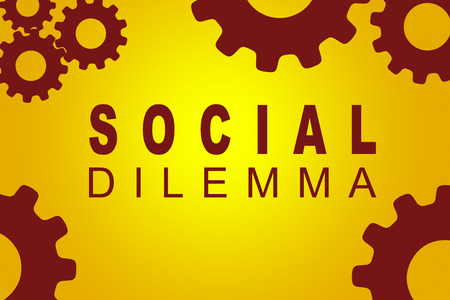 SOCIAL DILEMMA sign concept illustration with red gear wheel figures on yellow background