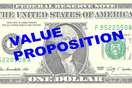 favorable: Render illustration of VALUE PROPOSITION title on One Dollar bill as a background