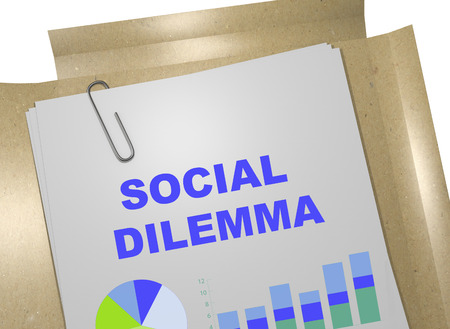 3D illustration of SOCIAL DILEMMA title on business document