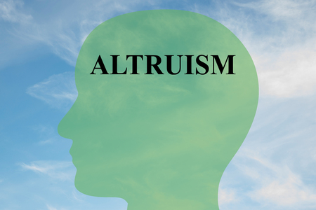 offering: Render illustration of ALTRUISM script on head silhouette, with cloudy sky as a background. Stock Photo
